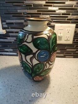 HAK DENMARK STONEWARE HERMAN A Kahler blue green vase Art Nouveau 1920 MiNT