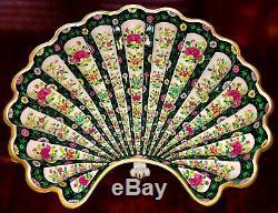 HEREND BLACK Dynasty 16D PORCELAIN FOOTED SHELL BOWL, Floral with24K Gold VTG