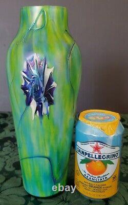 Harrach Stunning 1900's Art Nouveau Jugendstil Vase, Iridescent Cased Glass