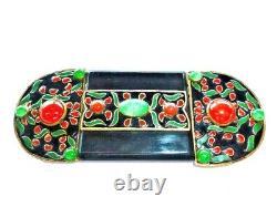 Huge Antique French Art Deco Nouveau Poured Jade Green Glass Black Enamel Buckle