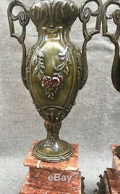 Huge antique pair of french Art Nouveau vases regule marble 19th century flowers