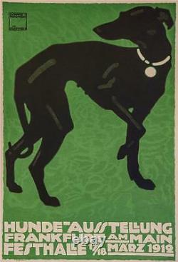 Hunde Ausstellung Whippet Dog Show Poster Fine Art Lithograph Ludwig Hohlwein S2