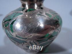 International La Pierre Vase American Emerald Green Glass & Silver Overlay