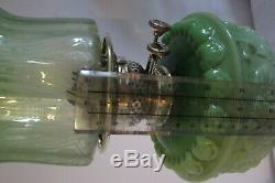 Irish Shamrock decorated victorian green Art Nouveau glass oil lamp etched shade