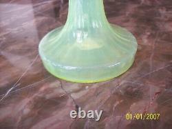 Jack In Pulpit Epergne Vintage Art Glass Ribbed Pink & Green Blown Glass Floral
