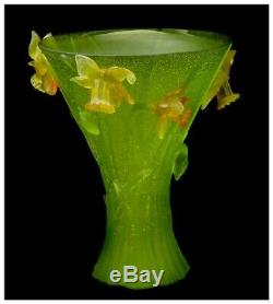 Jean Daum Large Original Pate De Verre French Glass Daffodil Vase Flower Signed