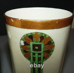 Jean Pouyat Limoges JPL Cider Pitcher 5 Mugs Art Nouveau Deco Green Gold France