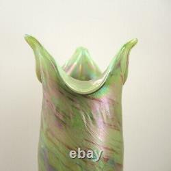 Joseph Rindskopf Art Nouveau Vase Iridescent Glass Hellgrünes Opalglas c1900 Vtg