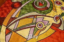Kandinsky Tapestry 2.5ftx4ft Red Green Gold Wall Hanging Rug Carpet Art Silk
