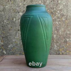 LARGE 12 American Green Matt ARTS & CRAFTS Studio Pottery ROOKWOOD Vase 1905