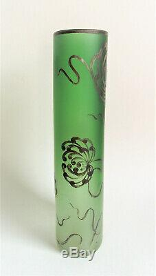 LARGE Carl GOLDBERG 13 SILVER MUMS Green Art Nouveau BOHEMIAN Czech Glass VASE