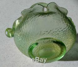 LOETZ 1890's Pale Green Iridescent Martele Decor Reeded & curled handle Nice
