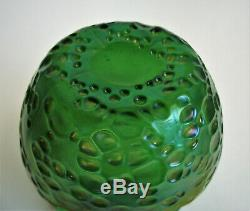 LOETZ DIASPORA Crete 4 GREEN IRIDESCENT Art Glass VASE Antique Bohemian c 1905