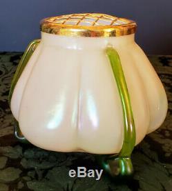 LOETZ Pearlescent White Glass Unique Frog Vase 18K Gold Frog Lid & 3 Green Feet