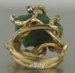Ladies 14k Yellow Gold Green Quartz Diamond. 30ctw Tree Branch Cocktail Ring