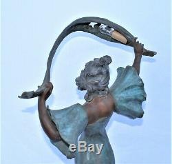 Lady Lamp, Antique Art Nouveau, spelter on marble base