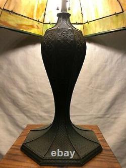 Large Art Nouveau 16 Panel Bent Slag Glass Lamp 26 X 20