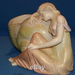 Large Art Nouveau Amphora Austrian Porcelain Figurine Lady With Shell
