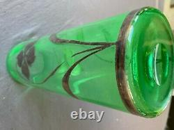 Large Art Nouveau Emerald Green Glass Vase Silver Floral Overlay 12, MB265