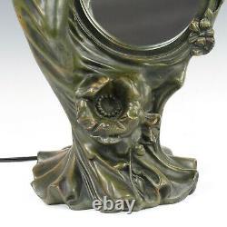 Large Art Nouveau Spelter Figural Newel Lady Lamp Figural Statue Table Lamp