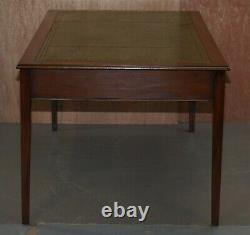Large Green Leather Top Mahogany Writing Table Desk In The Georgian Manner