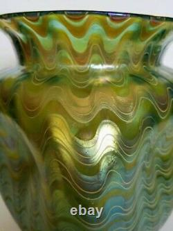 Large Loetz Art Glass Vase Decorated Waves