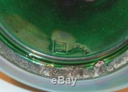 Large Old Antique Awaji Pottery Green Monochrome Japanese Arts & Crafts Vase 12
