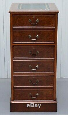 Large Three Drawer Burr Walnut Filing Cabinet Green Leather Top Matching Desk