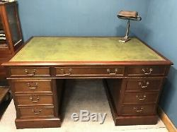 Large Vintage Mahogany Twin Pedestal Desk With Green Leather Top