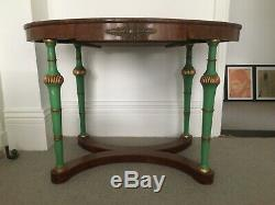 Late 19thC Empire style oval console or centre table jade green and gilded legs