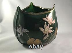 Legras Art Nouveau Art Glass Aventurine Vase Mont Joye Bohemian interest pontil