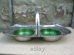 Liberty & Co Tudric Pewter Preserve Stand And Green Glass By Archibal Knox 0972