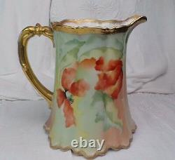 Limoges Hand Painted Pitcher France Signed By The Artist