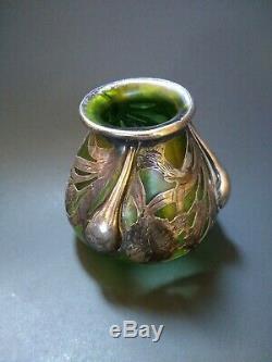 Loetz Alvin Art Nouveau, Silver Overlay Green teardrop drips flowers signed WOW