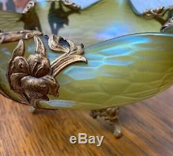Loetz Art Nouveau Iridescent Metal Mounted Bowl