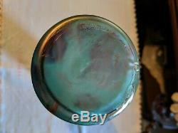 Loetz Cased Art Glass Vase Bluish Iridescent Threaded & Flowers Pallme Konig
