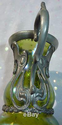 Loetz Creta Cephalonia Art Glass Vase Metal Mounts Antique Art Nouveau Glass
