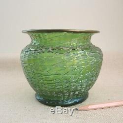 Loetz Crete Chine Vase Iridescent Art Nouveau Threaded Green Glass Bowl Vtg 1900