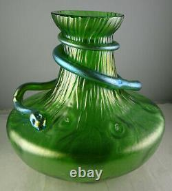 Loetz Green Large Glass Vase With Applied Snake