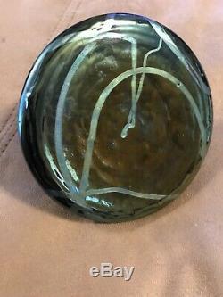 Loetz Kralik Art Nouveau Carnival German Ink Well Blue Green Iridescent Brass
