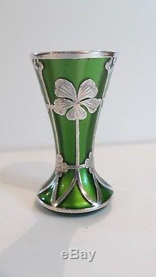 Loetz METTALIN Art Nouveau Silver Overlay 4 Vase