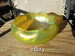 Loetz Rindskopf or Kralik Bohemian Iridescent Art Glass Large Bowl