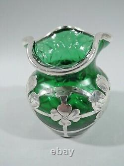 Loetz Vase Antique Art Nouveau Bohemian Green Quilted Glass Silver Overlay