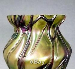 Loetz Vase Art Glass Iridescent Kralik Pallme Konig Rindskopf Bohemian 9 1/2