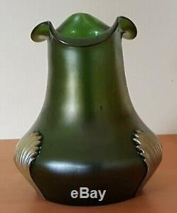 Loetz green iridescent glass vintage Art Nouveau antique vase