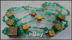 Long Vintage Art Deco Era Green Bohemian Glass & Brass Square Beads Necklace