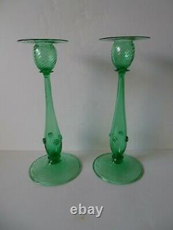 Look Sale $249.99 Steuben 12 Green Swirl Candlesticks #6043 Both Signed