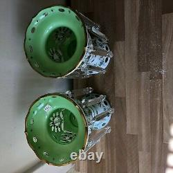 Lovely Antique Bohemian Glass Green Lusters Pair possibly Moser