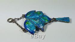 Lovely Original Art Nouveau Silver Enamelled Blue/green Pendant With Drop