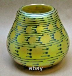 Lundberg Studios Green Indian Basket Iridescent Art Glass Vase, Signed, 1989